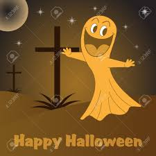 halloween ghost cartoon character in a graveyard with crosses