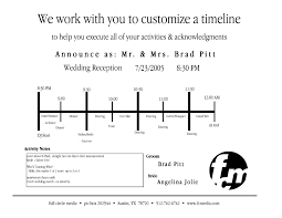 wedding reception programs reception timeline and planning