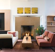tall fireplace family room contemporary with wall decor open