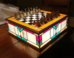 stained glass chess set classy and glassy technabob