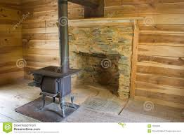wood stove in log cabin 4913 1s royalty free stock photos image