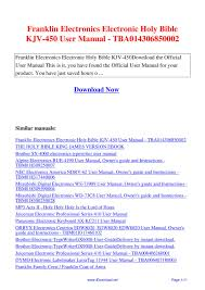 Franklin Electronics Electronic Holy Bible Kjv 450 User Manual