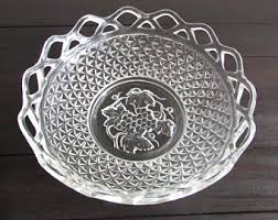 Large Silver Decorative Bowl Large Glass Bowl Etsy