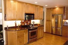 Mahogany Wood Kitchen Cabinets Wood Countertop White Tile Ceramic Flooring Mahogany Wood Island