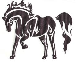 mustang horse drawing tribal horse by akkaifox on deviantart