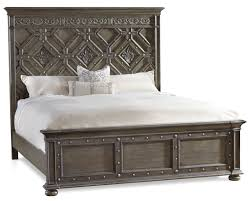 king wood panel bed with detailed headboard by hooker furniture