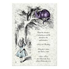 in wonderland cheshire tea party birthday invitation card