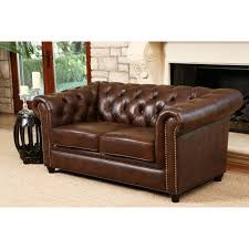 Leather Tufted Chairs Furniture Brown Leather Tufted Chair By Wayfair Living Room Sets
