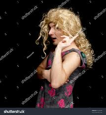 young man dressed woman black background stock photo 75415783