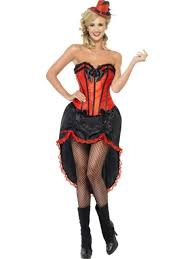 1920s womens red and black burlesque dancer fancy dress costume