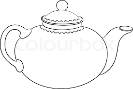 china round teapot with a cover graphic monochrome contour