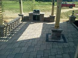 Pergola With Fire Pit by Exterior Interesting Patio Design With Cozy Unilock Pavers And