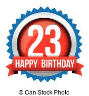vector clipart of happy birthday card 23 twenty three year cake