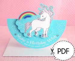 unicorn seesaw birthday card printable pdf download emo