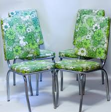 1950s Kitchen Furniture mid century chrome kitchen chairs 1950s green floral vinyl