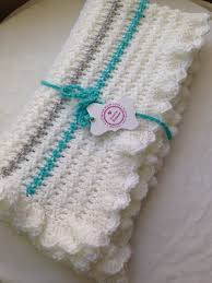 gender neutral gifts white turquoise and gray crochet baby blanket gender neutral baby