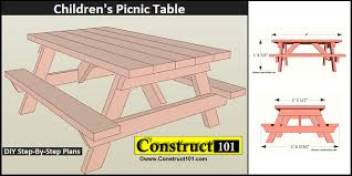 Free Plans For Outdoor Picnic Tables by Children U0027s Picnic Table Plans Construct101