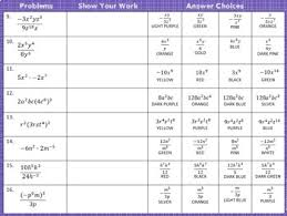 exponent rules laws of exponents coloring activity by algebra