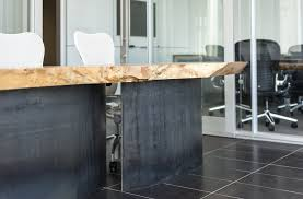 How To Make A Reception Desk Reception Desk Envy Live Edge Curved Metal Office Installation
