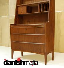 mid century danish modern teak secretary desk dresser credenza