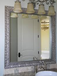 framed bathroom mirrors brushed nickel bathroom carved silver framed bathroom mirror and single sink