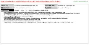 vocational training director resume sample