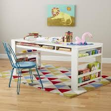 kids craft table with storage white play table with side bin the land of nod