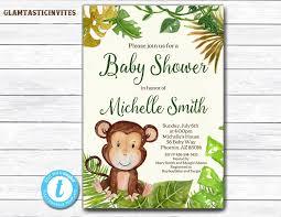 monkey baby shower invitation safari baby shower invitation