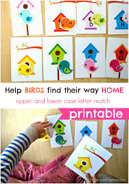 birds and houses upper and lower case letter match frogs and fairies