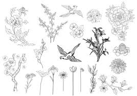 Flower And Bird - etched flower and bird brushes free photoshop brushes at brusheezy
