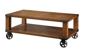 Wooden Coffee Table With Wheels by Broadus I Collections
