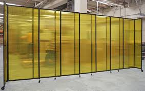 Yellow Room Straightwall Sliding Portable Partition Polycarbonate Plastic