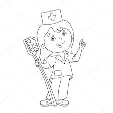 coloring page outline of cartoon doctor with a toothbrush u2014 stock