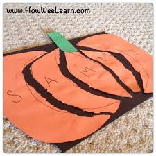 halloween preschool crafts pumpkin name puzzles how wee learn
