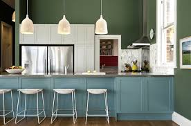 kitchen blue color with kitchen island also white color kitchen