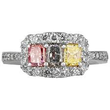 colored diamonds rings images Three stone fancy multi colored diamond gold ring at 1stdibs jpeg