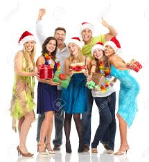 happy funny people christmas party isolated over white
