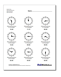 Time Clock Worksheets Five Minute Time Addition
