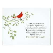 funeral thank you notes cardinal funeral thank you note card bird zazzle