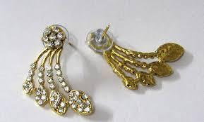 gold kaan earrings buy golden oval shape kaan earring online