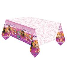 paw patrol pink girls tablecover happy birthday party puppy pet