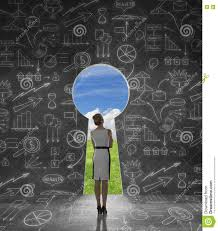 Keyhole Doorway businesswoman looking through keyhole stock illustration image