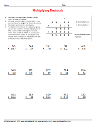 multiplying decimals worksheets worksheetsdirect com