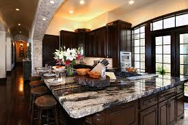 outstanding kitchen with granite breakfast table combined wooden