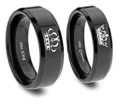 his and hers engagement rings king and ring set in blacktitanium his and