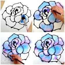 black glue rose watercolor resist art project rhythms of play