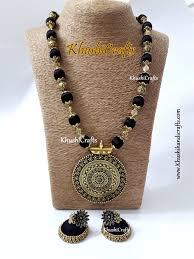 black jewelry necklace images Buy black silk thread jewelry set with designer pendant online jpg