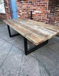 12 Seater Dining Table Dimensions Reclaimed Industrial Chic 10 12 Seater Solid Wood And Metal Dining