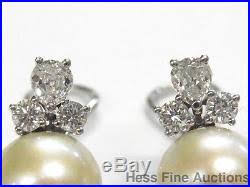 heavy diamond earrings 11 2mm akoya pearl diamond heavy 14k white gold vintage omega back