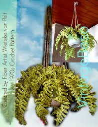 Boho Home Decor by Fern Plant Crochet Pattern Vintage 70s Hanging Fern Plant